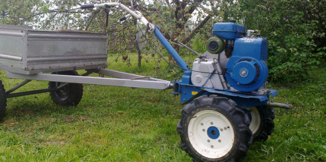 Minitractor from diesel motoblock  Self-made mini tractor with