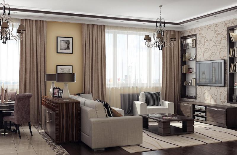 Design del soggiorno con una grande finestra nel mezzo. finestre