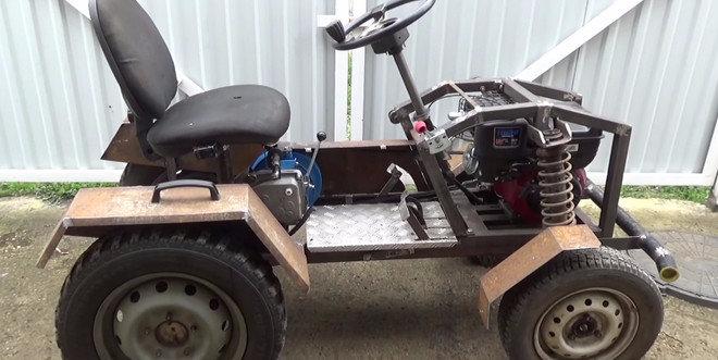 Minitractor from diesel motoblock  Self-made mini tractor